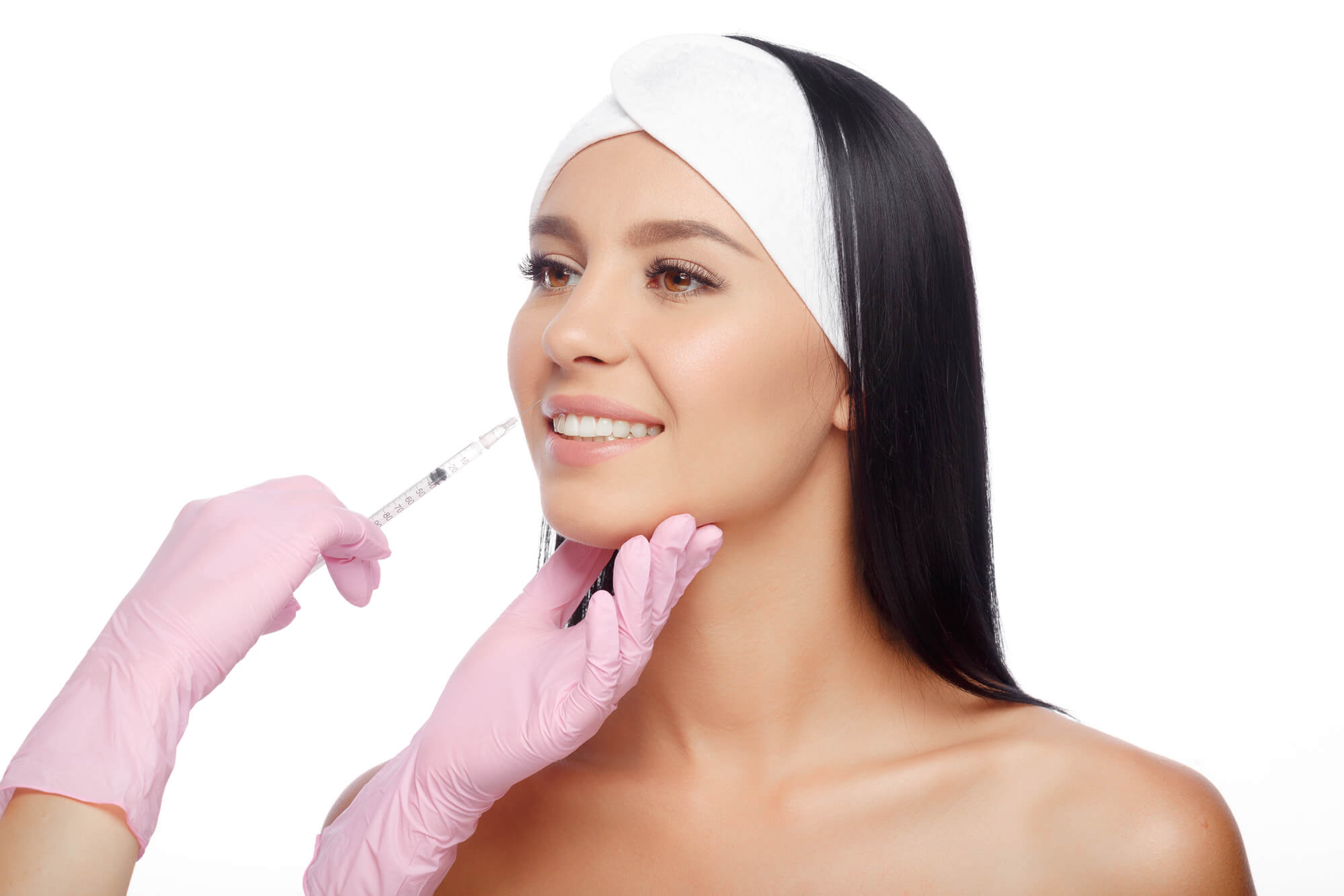 girl getting injections for lip fillers Miami